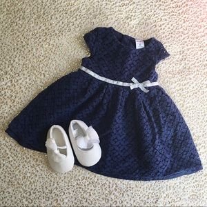 Baby Girl Blue Party Dess and Shoes